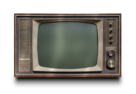 白い背景に隔離されたヴィンテージテレビ