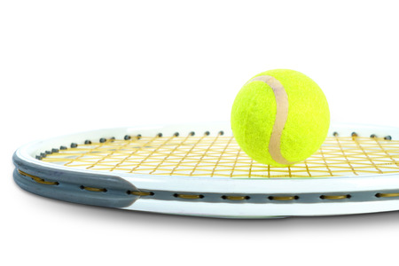 Tennis rackets and tennis ball on white background