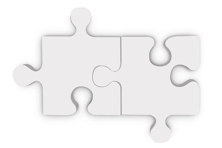 Jigsaw puzzle two pieces, Solutions and Teamwork concept isolate on white background