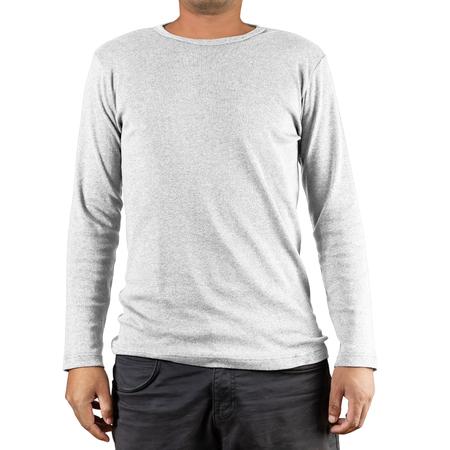 Studio shot of Man wearing blank white long sleeves t-shirt on white background Standard-Bild