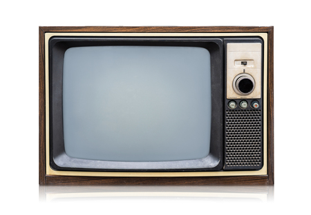 Vintage Retro Style old television on a white background