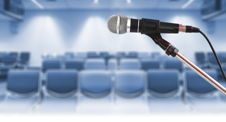 Close up of Microphone on stand in conference room Standard-Bild - 116145876