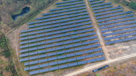 Aerial top view of Solar panels Banco de Imagens