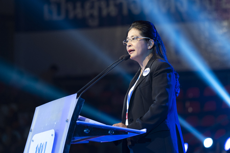 Bangkok, Thailand - March 22, 2019: Pheu Thai Party leader prime minister candidate Khunying Sudarat Keyuraphan, speaks to supporters during a campaign rally for general election on March 24.