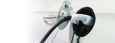 Electric car charging on charge station, Transport which are the future of the automobile Stock Photo