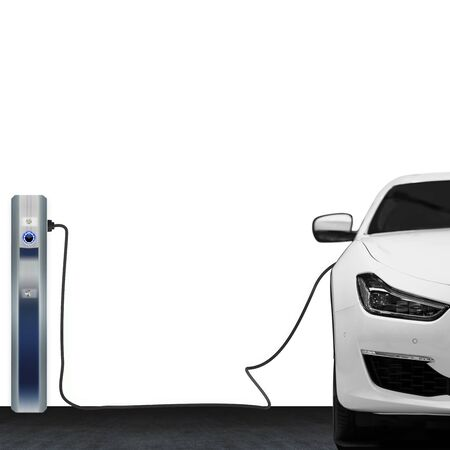 Charging modern electric car battery on charging station isolated on white background