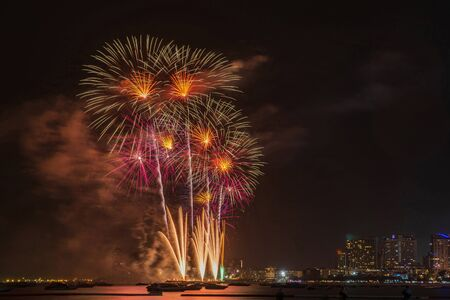 Beautiful sparkle light up on the sky from fireworks at night