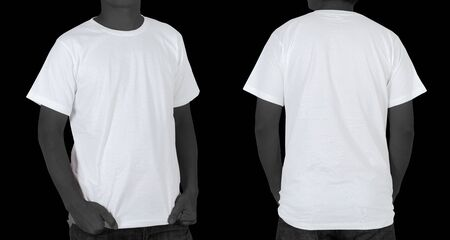 Blank White T-shirt (front, back) on black background