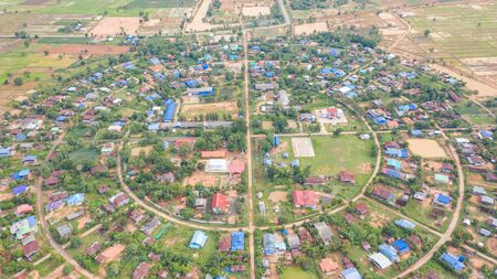 Aerial top view of villages in a circle taken with drones Foto de archivo