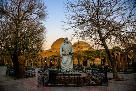 Blue mosque and Khaqani poet statue, Tabriz, Iran. Stock Photo