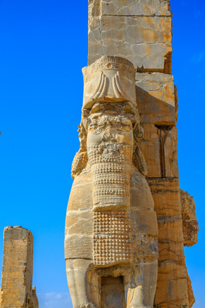 Persepolis was the ceremonial capital of the Achaemenid Empire. Persepolis is situated 60 km northeast of the city of Shiraz in Fars Province, Iran, Middle East, Asia Stock Photo