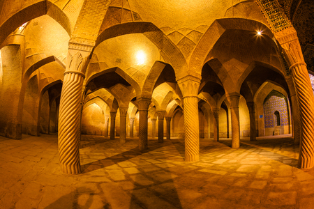 Vakil Mosque, Shabestan, Prayer Hall, Shiraz. Originally built between 1751 and 1773, restored in 19th century during Qajar period. Vakil means regent, title of Karim Khan, founder of Zand Dynasty. Editorial