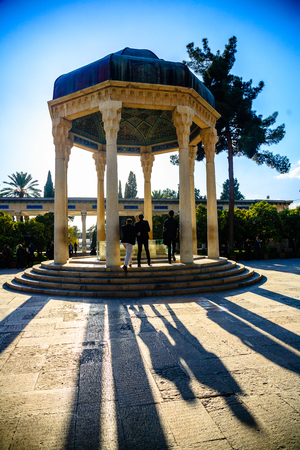 hafez: SHIRAZ, IRAN - December 8: People visit tomb of poet Hafez on December 8, 2016 in Shiraz, Iran. Hafez lived in 14th century and is the most famous poet in Iran. Stock Photo