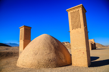 View to the Zoroastrian temples ruins and the Tower of Silence in Yazd, Iran.