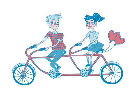 Young Couple Riding Tandem Bicycle Dating Hand Drawing Illustration