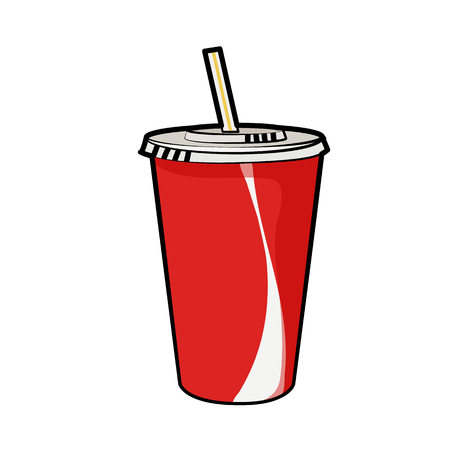 Isolated illustration of disposable red soda cup with straw for beverages for poster, menus, brochure, web and icon fastfood. Cartoon style with black outline on white background. Can be used as template