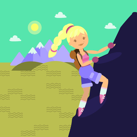 Young woman with backback climbing on the rock. Flat style. Layered illustration. Can be used for motion design or another design project.