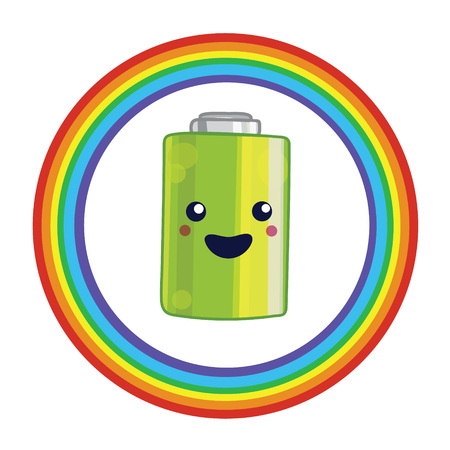 Illustration for battery recycling with battery and rainbow.