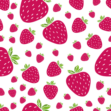Summer seamless pattern with delicious juicy strawberries on white background. Can be used in your project or printing. Illustration
