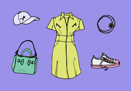 Drawing of look book trendy collection of summer 2017 with dress shirt, cap, bracelet, sneakers and handbag.