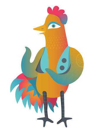 Colorful cock with sun tattoo in waistcoat. Isolated illustration in cartoon style. Chinese New Year symbol design. Can be used in printing: card, t-shirt, phone case, mug, bag and so on. Illustration