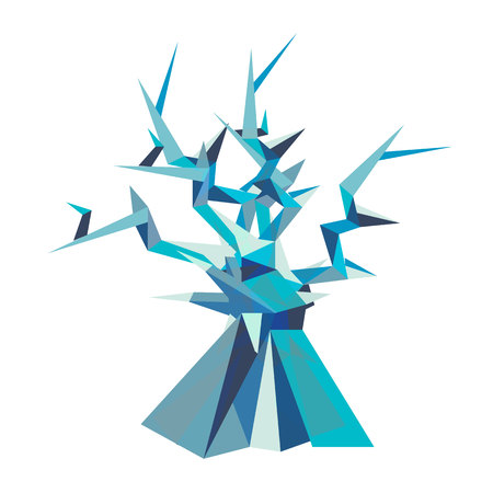 Illustration of fantastic tree. Polygon style. Series of icy creatures. Can be used in printing: card, t-shirt, phone case, mug, bag and so on. Illustration