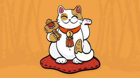 calico: illustration of maneki neko talisman cat beckoning wealth with an upright paw raised and golden hammer. The cat sitting on the pillow in bamboo forest. Can be used as wallpaper or for print design.