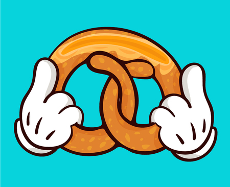 Isolated illustration of delicious pretzel with slice of butter and holding hands. Image for print and web design. Cartoon style with outline on white background