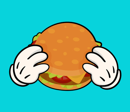 Isolated illustration of delicious burger  with meat, cheese, tomatoes and salat and holding hands. Image for print and web design. Cartoon style on white background