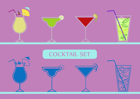 Icons set with pinacolada, margarita, cosmopolitan and mojito cocktails. Two variants. Multicolored and monochrome.