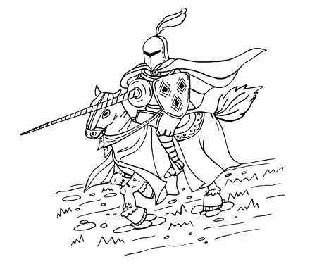 Chevalier médiéval à cheval. Illustration de vecteur isolé noir et blanc. Peut être utilisé comme page à colorier.