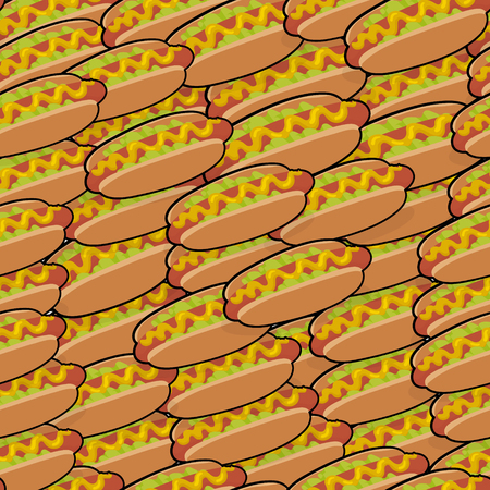 Pattern with isometric delicious hotdogs with sauce and salad for poster, menus, brochure, web fast food business. Cartoon style  on white background