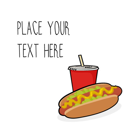 Vector template with hotdog and red soda cup for fast food business. Isometric cartoon style with text.