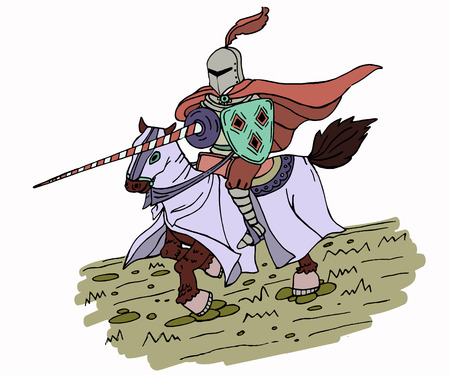 joust: Medieval spear knight on horse. Isolated vector illustration for your design project.