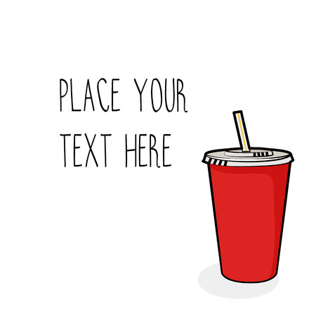 Vector template with red soda cup with straw for  fast food business. Isometric cartoon style with text. Illustration