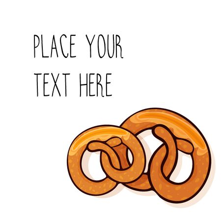 Vector template with two delicious pretzels for fast food business. Cartoon style with text.