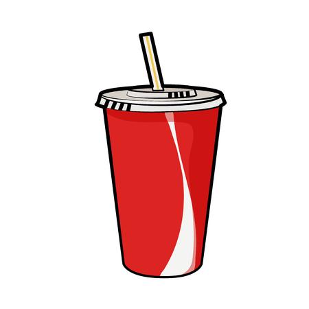 Illustration vectorielle isolée d'une tasse de soude rouge jetable avec de la paille pour les boissons pour affiches, menus, brochures, web et icônes fastfood. Style de bande dessinée avec contour noir sur fond blanc. Peut être utilisé comme modèle