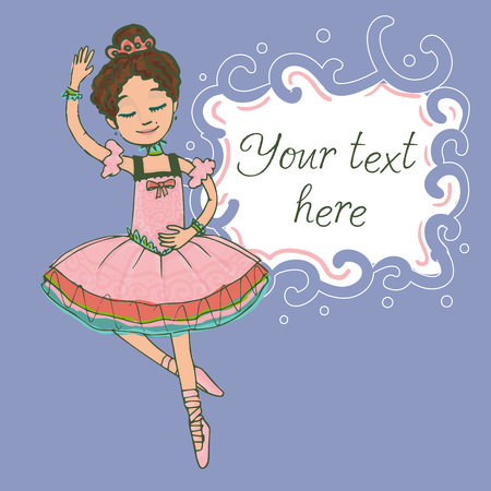 Illustration template with text and beautiful brunette ballerina girl dancing in shiny pink dress. Stock Photo