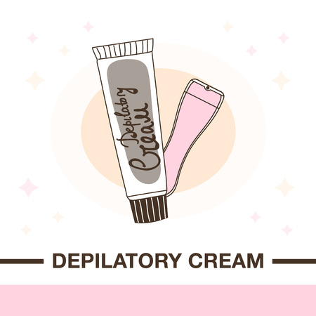 Illustration of cream for depilation and spatula to remove.Flat style with delicate outline and colors.