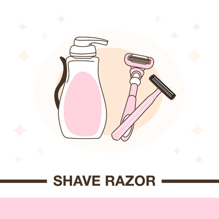 Illustration of two shave razors and cream for shaving. Flat style with delicate outline and nude colors. Illustration