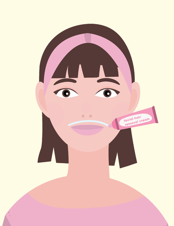 Illustration of young woman applied facial hair removal cream