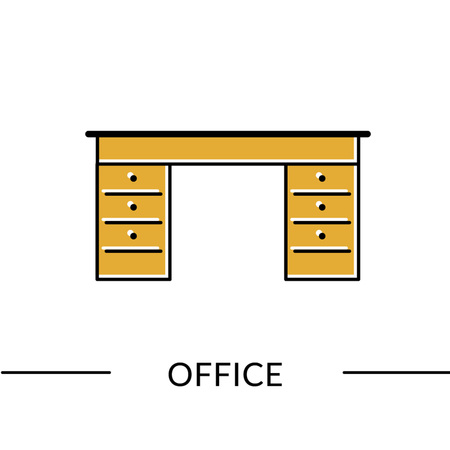 Office desk. Office furniture line icon for web or print Vector illustration. Illustration