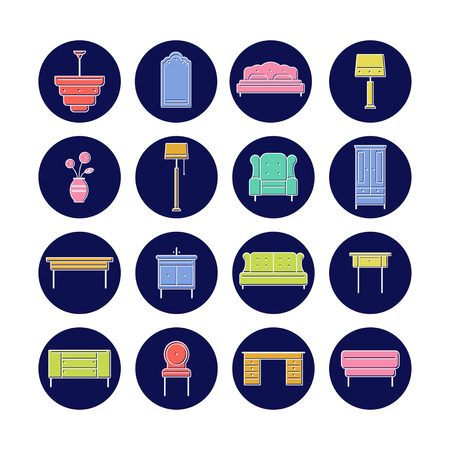 Furniture icon collection for print or web. Delicate white outline with bright colors. Modern design Vector illustration.