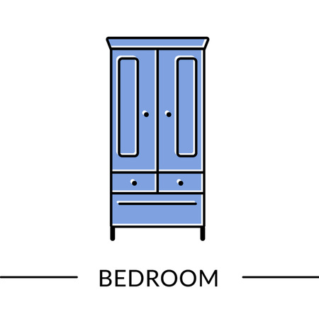 Wardrobe. Bedroom or living furniture line icon for web and print Vector illustration.
