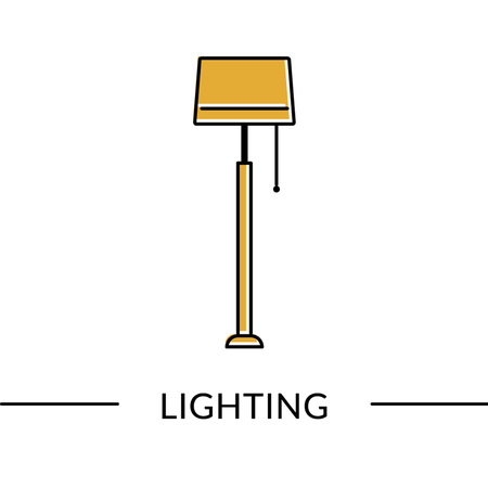 Floor lamp.Lighting furniture line icon for web and print Illustration