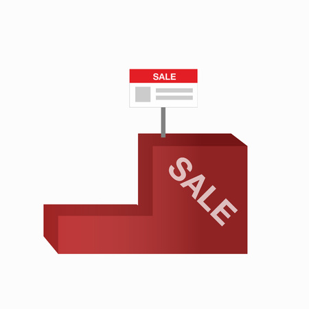 Red  empty rectangle floor display with shelves and banner. Isolated object for your design