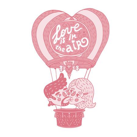 """Dibujo a mano ilustración monocromática que representa a una joven pareja feliz besándose en un globo caliente con la frase de letras """"El amor está en el aire""""."""