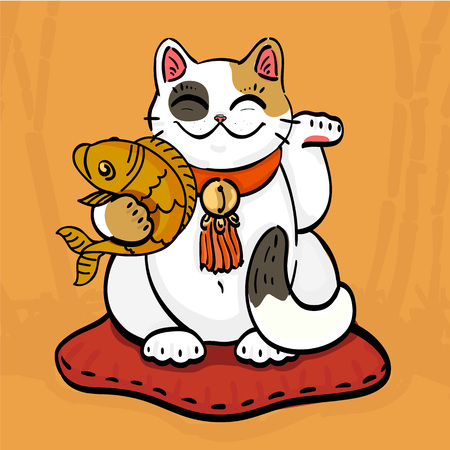 Illustration of maneki neko talisman cat beckoning wealth with an upright paw raised and golden fish.