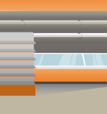 Interior illustration with supermarket empty equipment