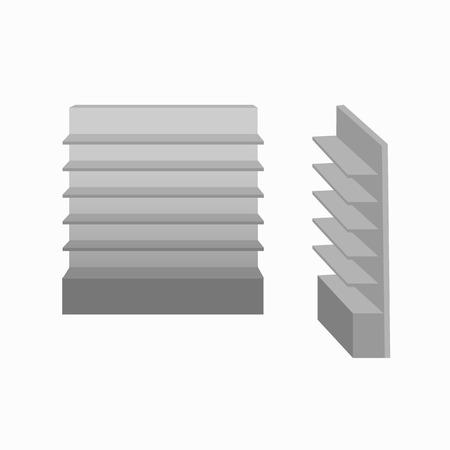 Exhibición de escaparate gris vacío con estantes. Vista frontal y vista lateral.